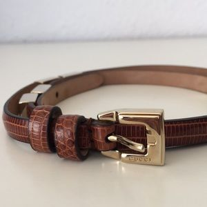 Authentic Gucci Lizard Leather Belt